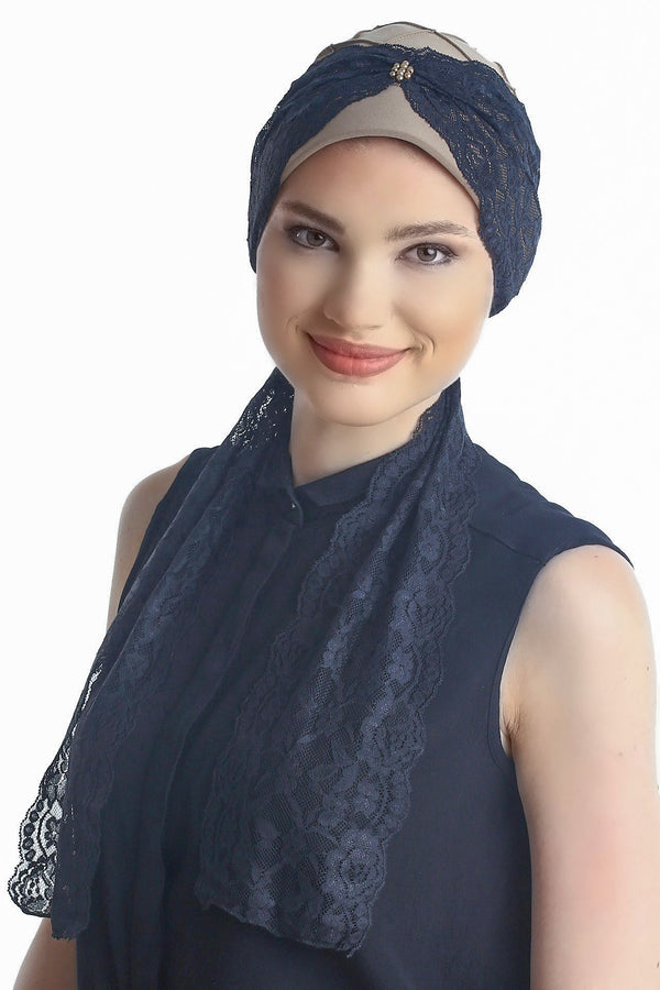Deresina diamond patterned chemo turban beige black