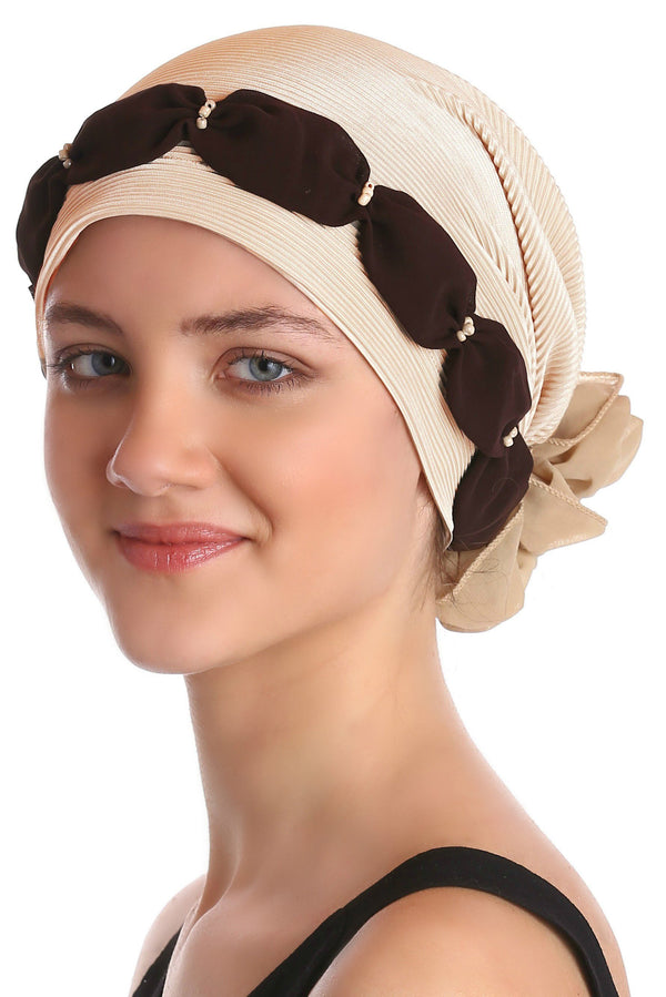 Deresina Shirred  beaded chemo headwear beige brown