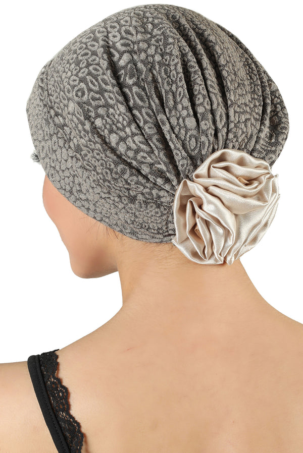 Brocade Headwear with Satin Rose - Padded Front Beige
