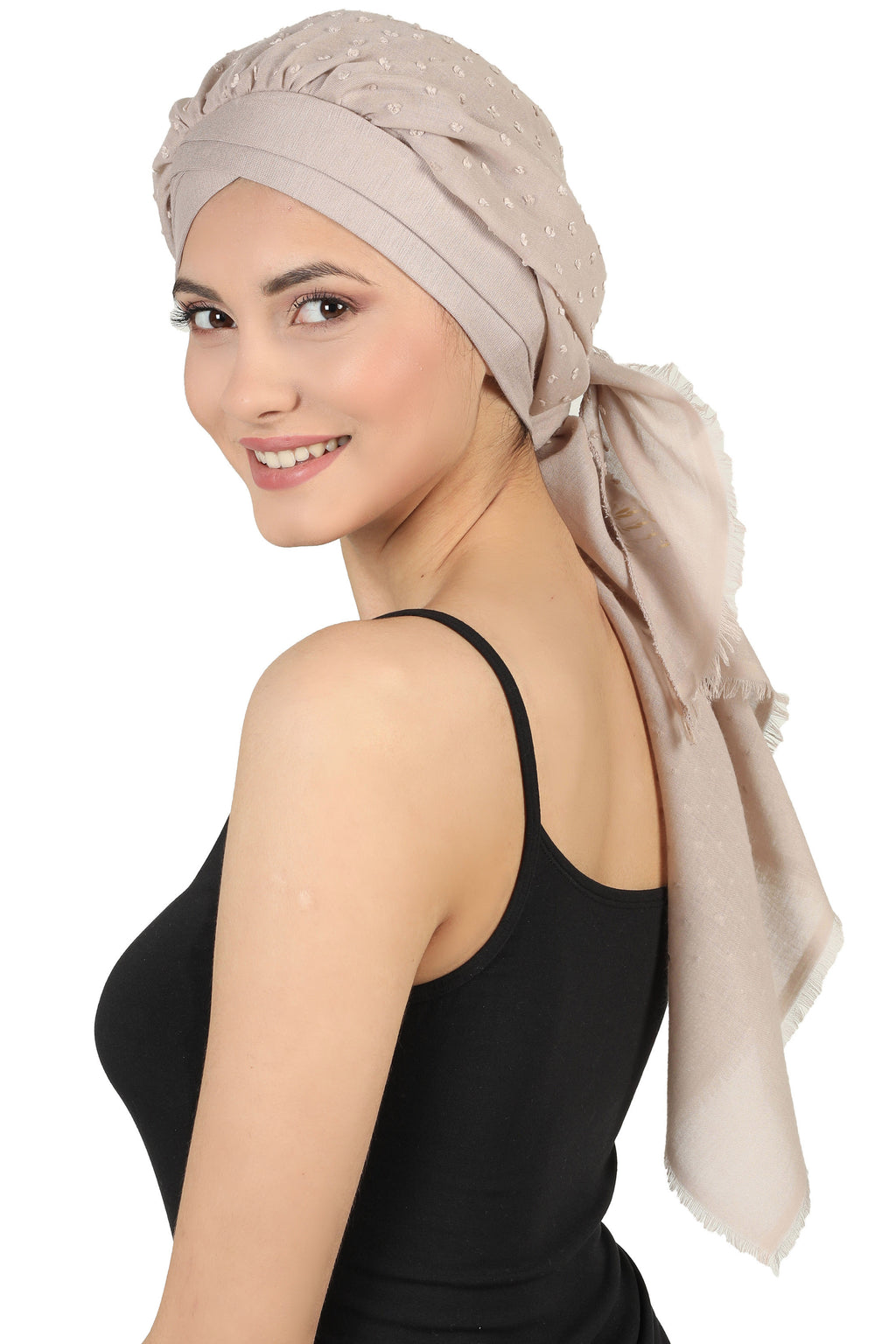 W Front Cap with Attached Scarf (Beige Teeny Weeny)