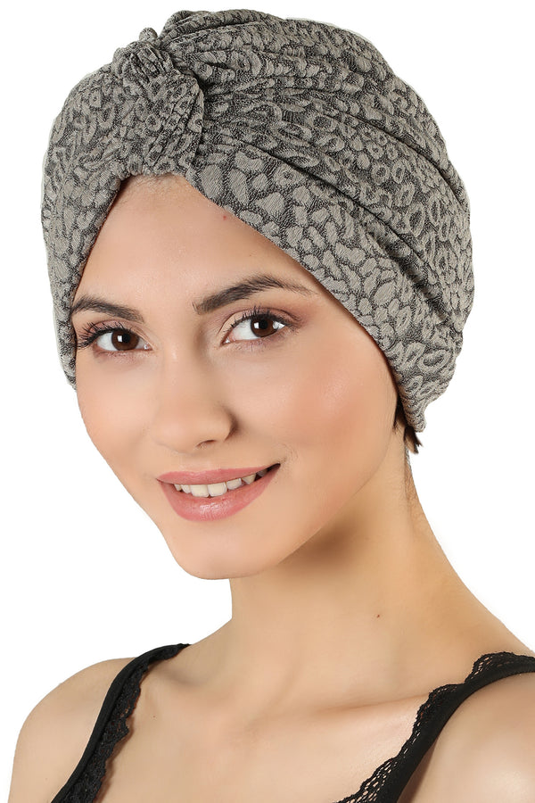 Brocade W Pattern Turban  - Beige