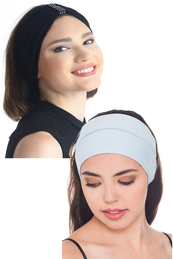 Plain & Jewelled Headband Set of Two-Black/Sky