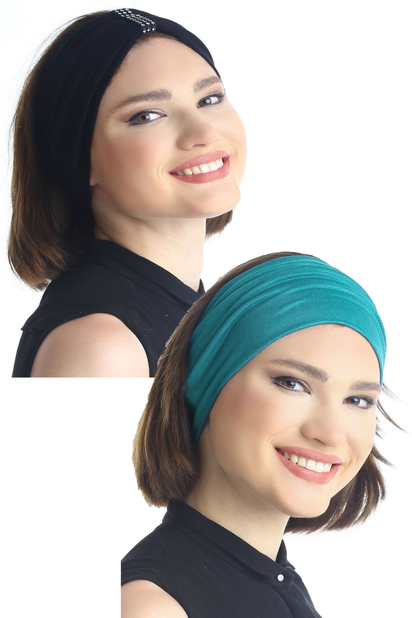 Plain & Jewelled Headband Set of Two - Black/Teal