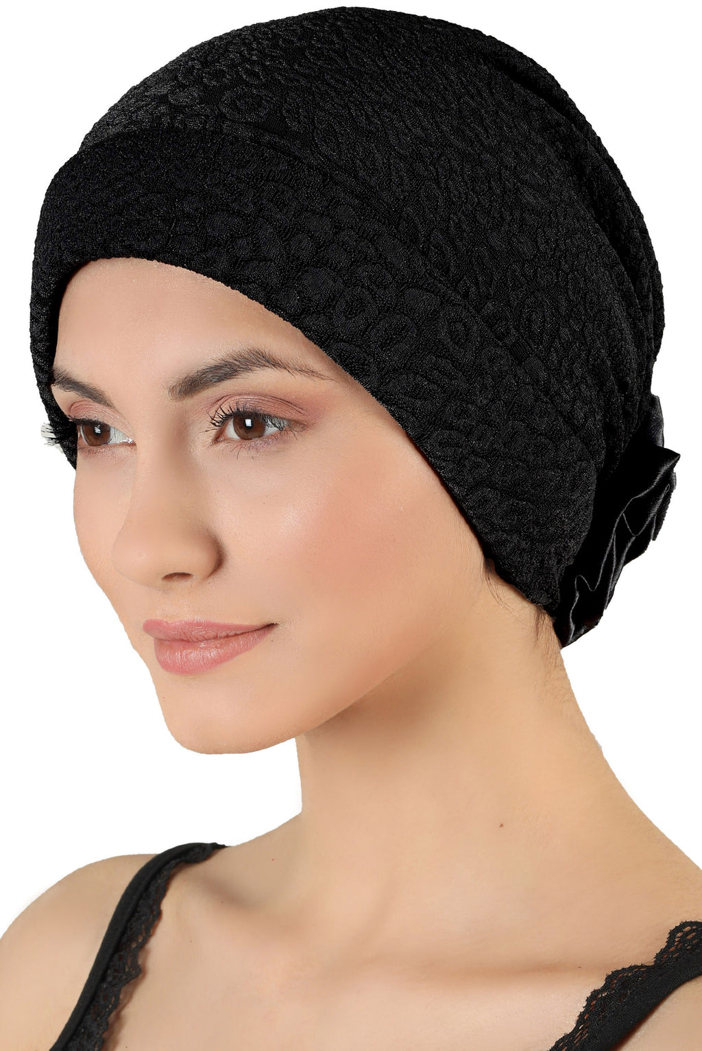Brocade Headwear with Satin Rose - Padded Front Black