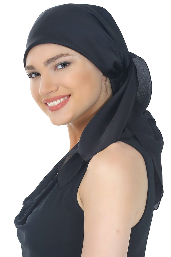 Crepe Satin Luxurious HeadScarf - Black