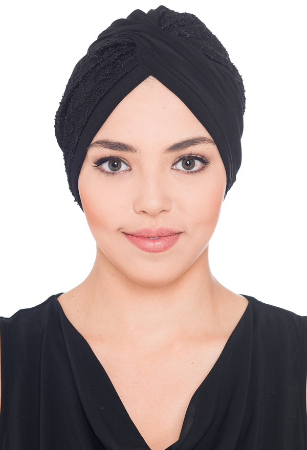 Lace Cross Turban - Black
