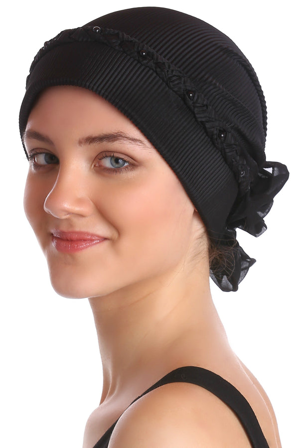 Deresina Braided beaded hat for hairloss for hairloss black