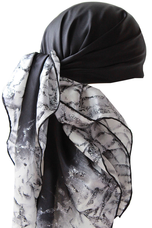 Silver Leaf 100% Silk Scarves for Women (Black/Beige)
