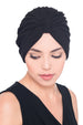 Deresina Pleated w pattern turban for chemo black