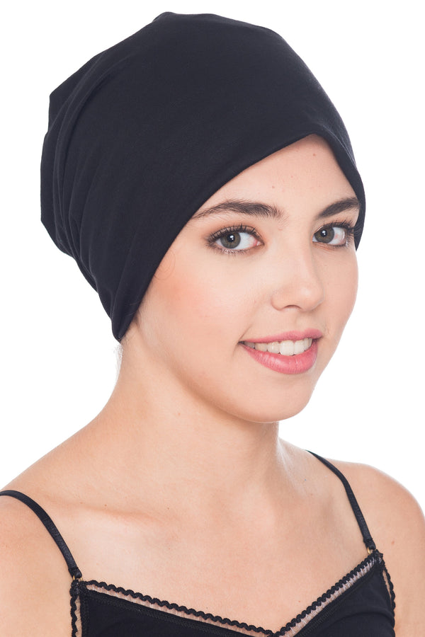 solid Deresina Reversible unisex beanie for hairloss black