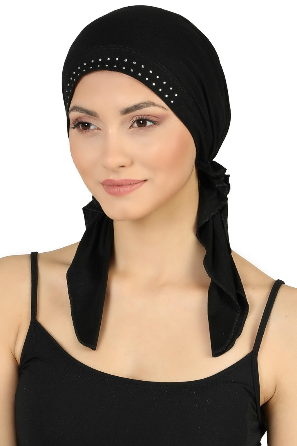 JEWELLED Front Pre tied Cotton Bandana - Black