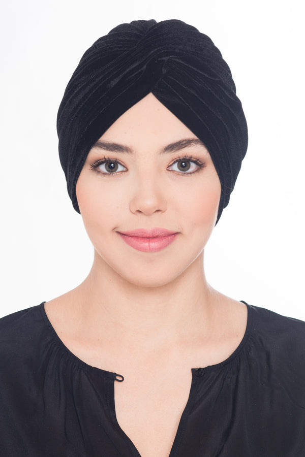 Velour  Cross Turban - Black