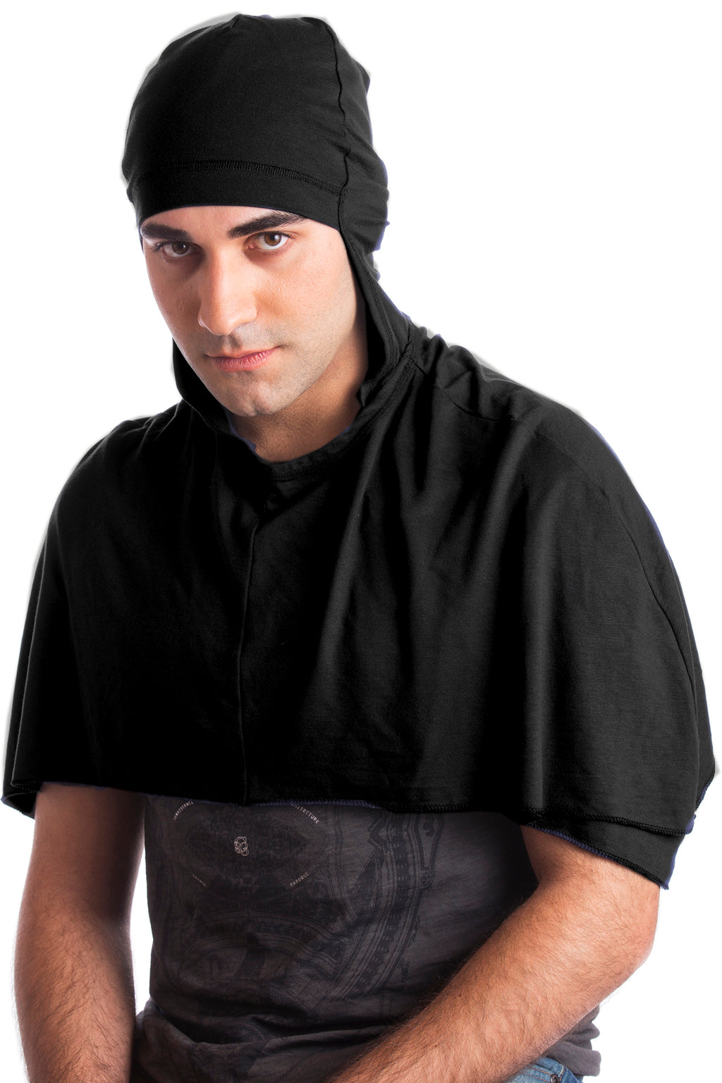 Hooded Cotton Cape Poncho for Men - Black