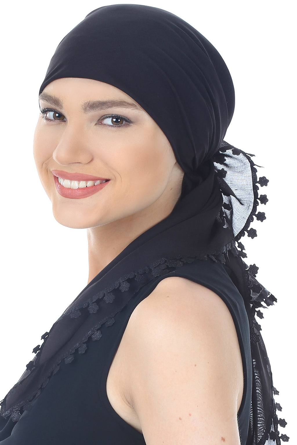 Flower Edges Soft Square Head Scarf - Black