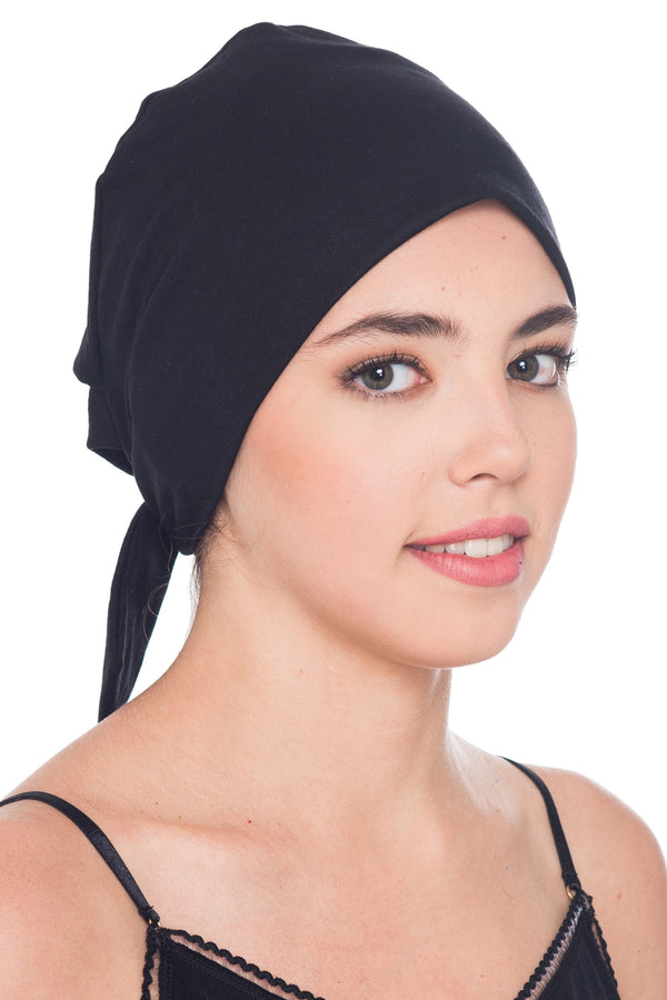 Deresina Comfort tie back cancer cap black