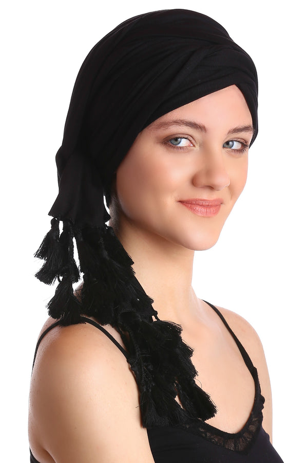 Cotton Headwrap - Black with Tassel