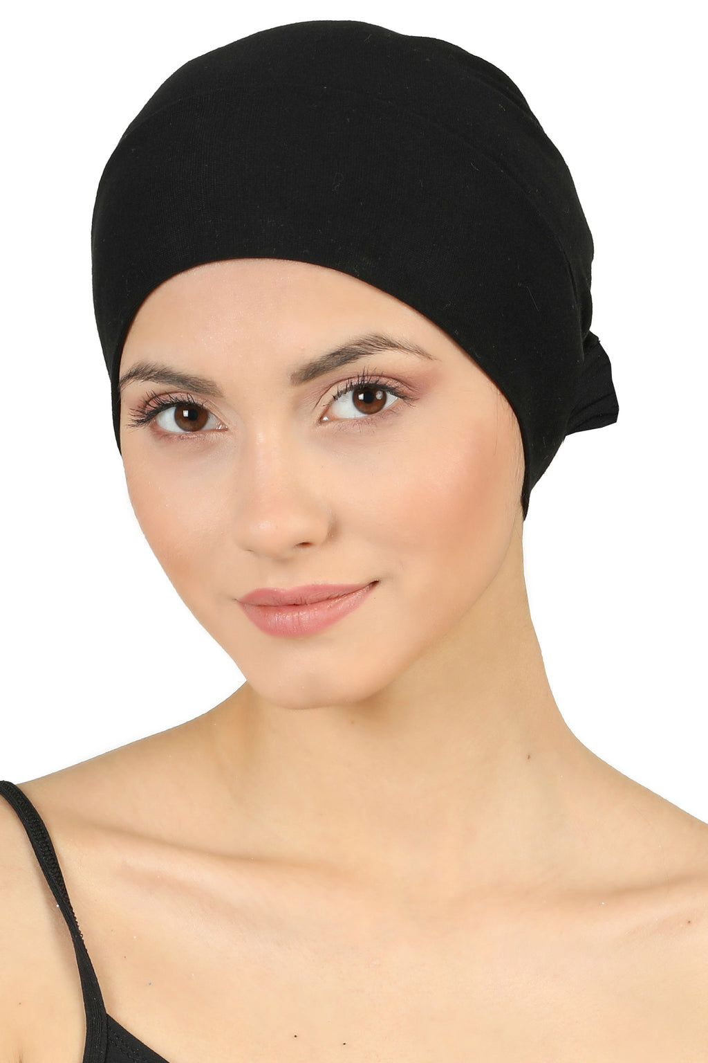 Double Layer Tie Back Cotton Cap - Black
