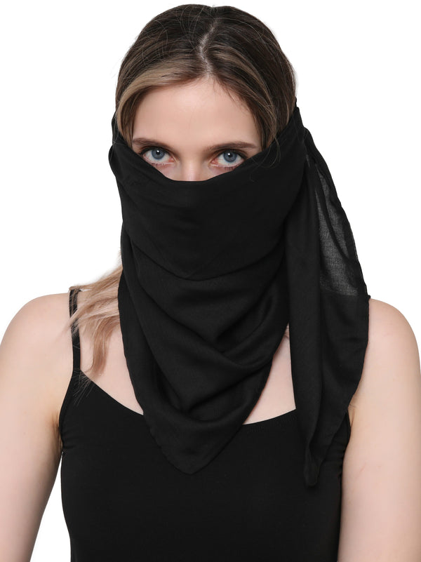 Unisex Scarf Face Mask, Headscarf, Neckscarf, Bandana- Black