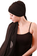 Chiffon Headwear with Long Schal -  Black