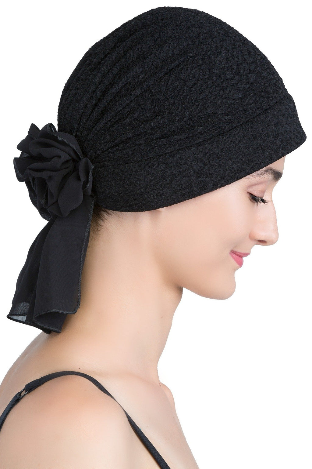 deresina brocade headwear georgette chemo hats black