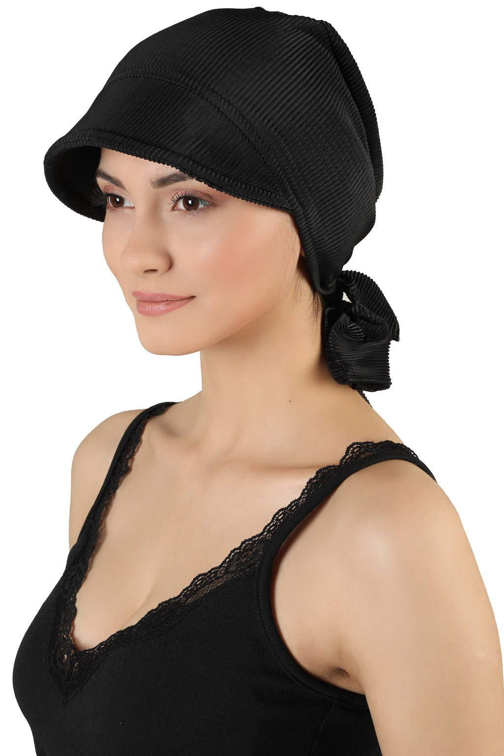 Tie Back Casual Pretty Hat - Black
