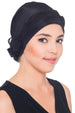 Deresina Shirred  beaded chemo headwear black black