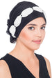 Deresina Shirred  beaded chemo headwear black cream