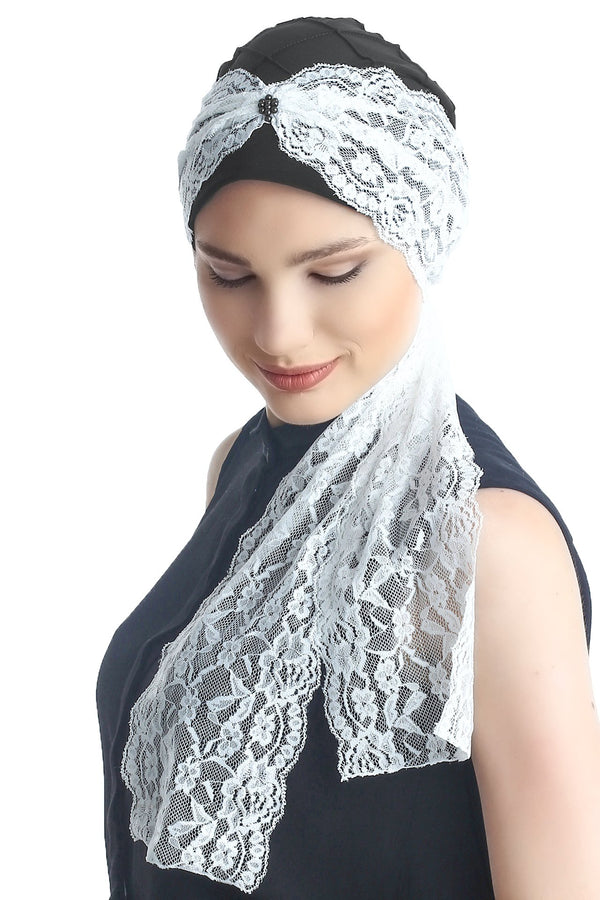 Deresina diamond patterned chemo turban black cream