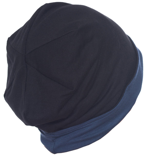 Reversible Beanie for Men - Black/Navy