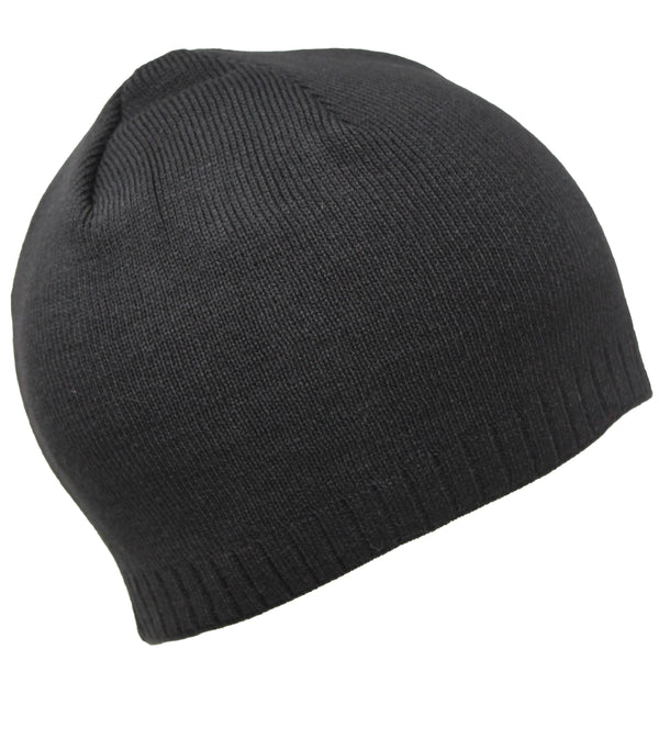 Men Knit Hat- Black Two-Layered Chunky Beanie