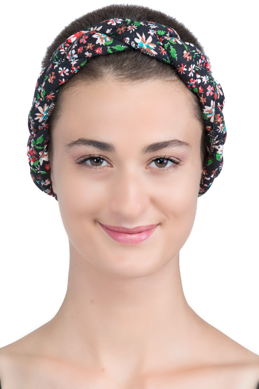 Braided Hairband, Headband (Black Floral)
