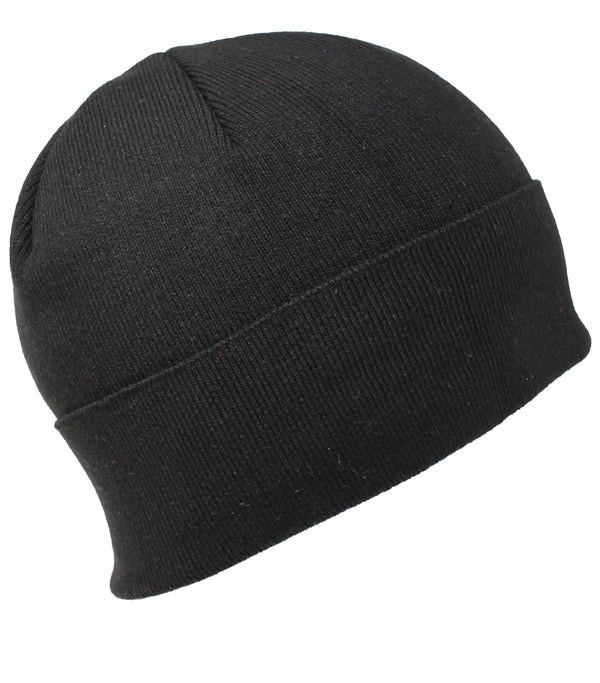 Men Knit Hat - Black Full Fleeced Beanie
