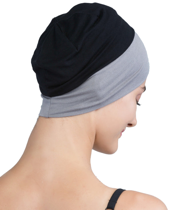 Wrap-fit Sleep Cap - Black Grey