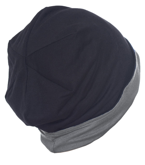 Reversible Beanie for Men - Black/Grey