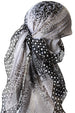 Everyday Square Head Scarf - Black Grey Dotted End