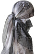 Everyday Square Head Scarf - Black Grey Geometric Dotted End