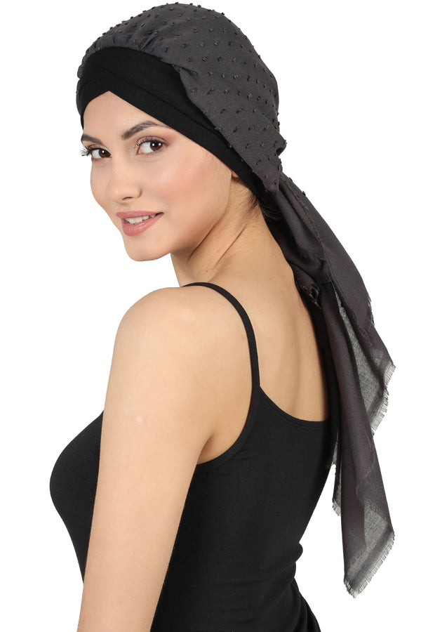 W Front Cap with Attached Scarf (Black Teeny Weeny)