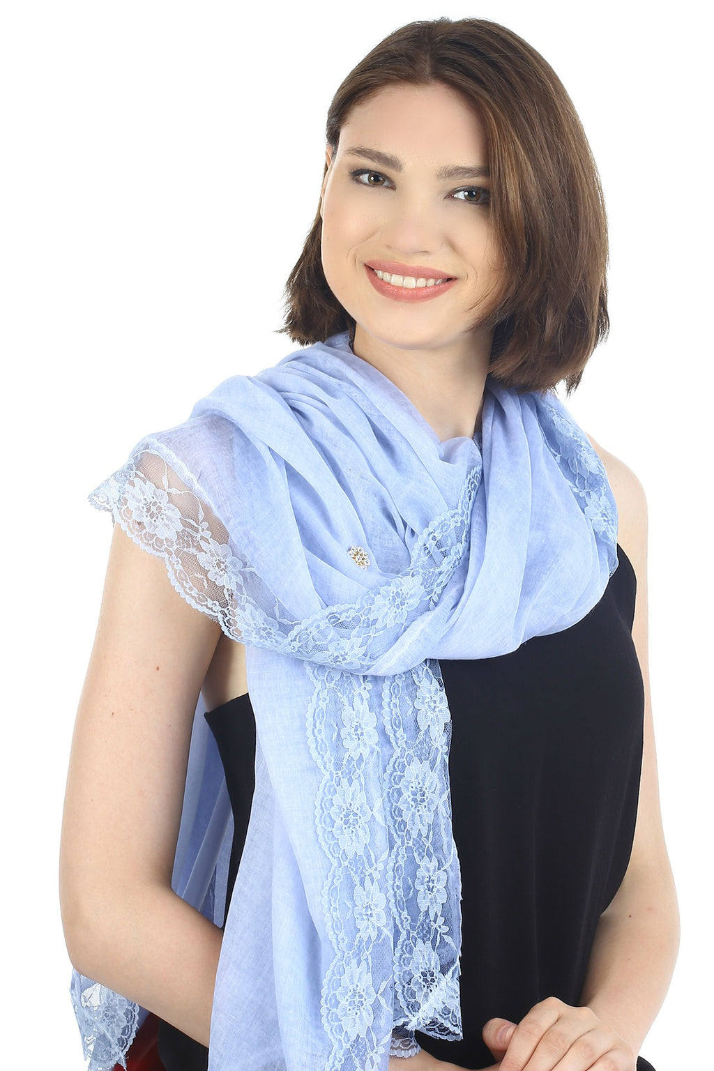 Pure Cotton Oversize Scarf with Lace Edges- Baby Blue