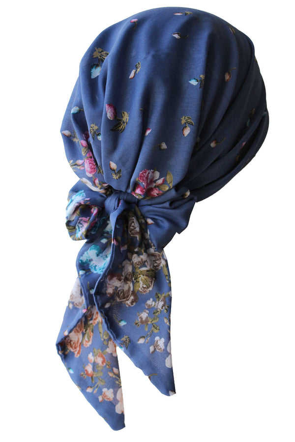 Easy Tie Head scarf  (Blue Flowers)