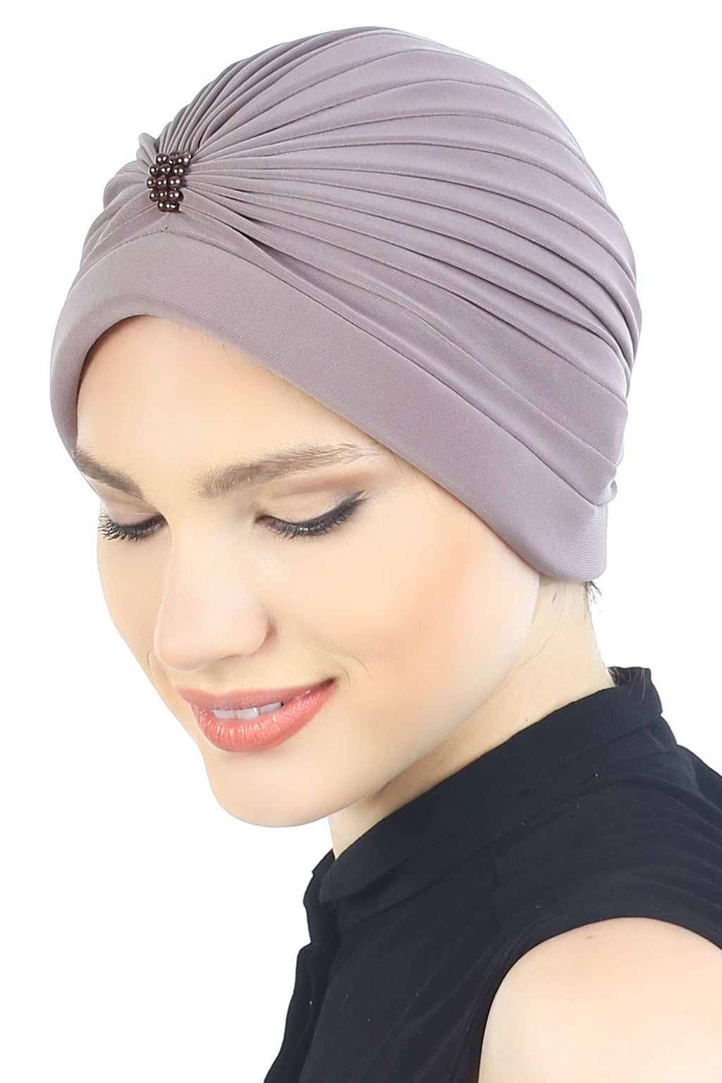 Deresina Pearl detail turban for cancer patients blush beige