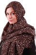 Hooded Headscarf - Brown/ Cream Animal Print