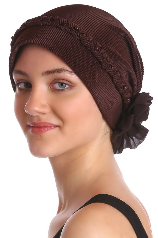 Deresina Braided beaded hat for hairloss for hairloss brown