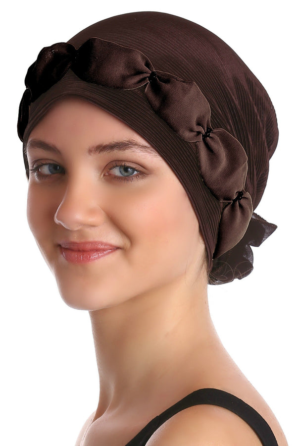 Deresina Shirred  beaded chemo headwear brown brown