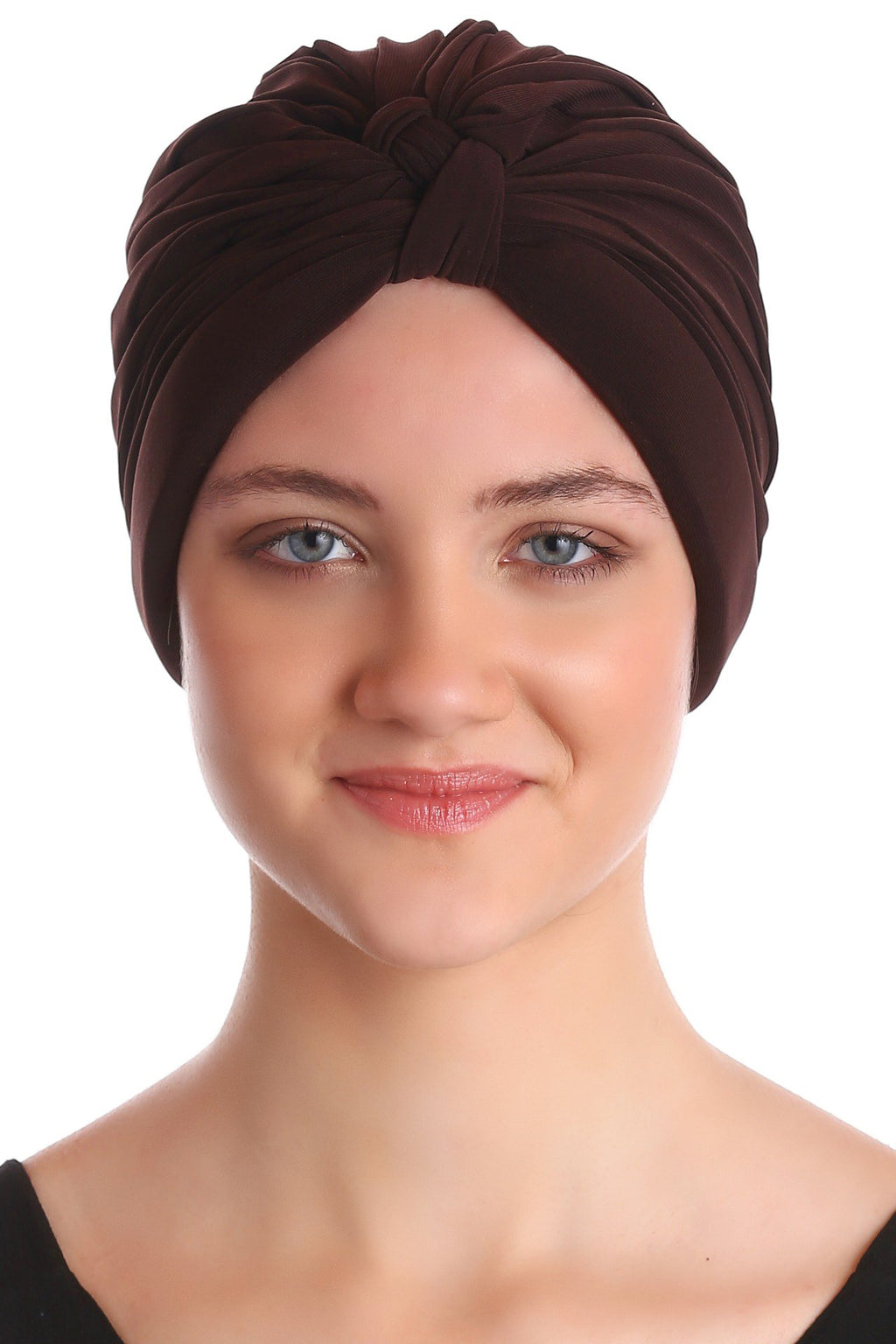 Deresina Pleated w pattern turban for chemo cacao