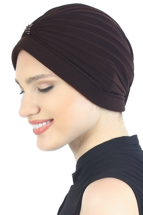 Deresina Pearl detail turban for cancer patients brown