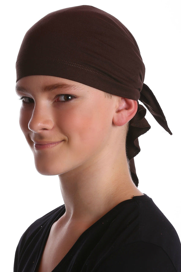 Deresina Teen indoor bandana for hairloss brown
