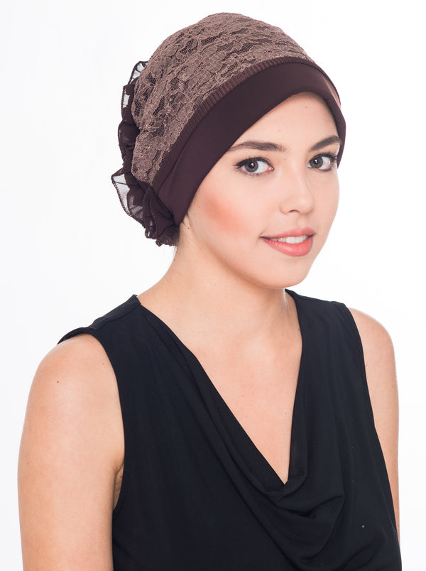 Ruflle Flower Hat - Brown (Exclusive)
