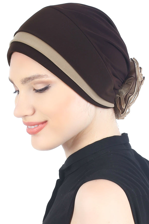 Deresina Padded hat for cancer patients cocoa beige