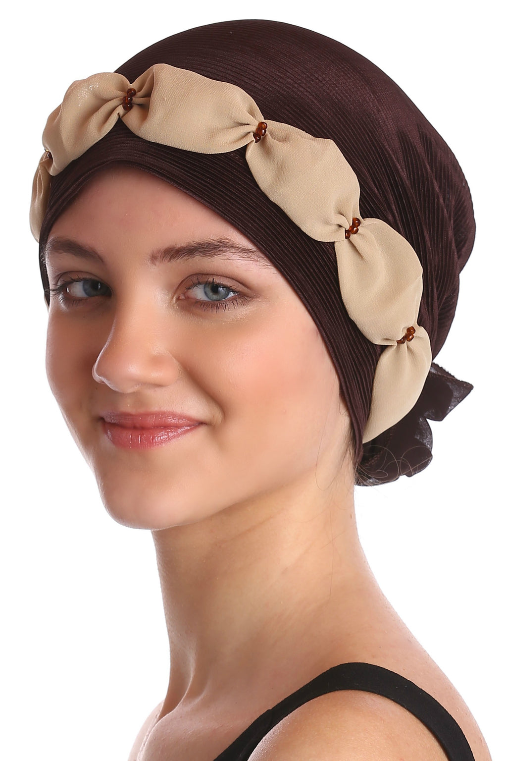 Shirred & Beaded Headwear - Brown/Beige