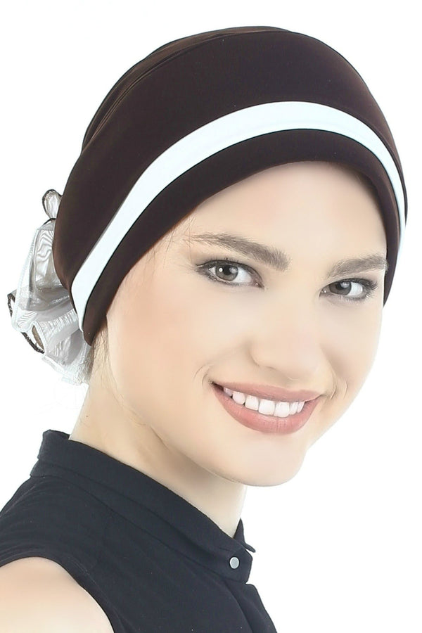 Deresina Padded hat for cancer patients brown cream